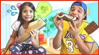 ANNY e CAIO FIZERAM UM DESAFIO DE CHOCOLATE !! Staged a chocolate challenge
