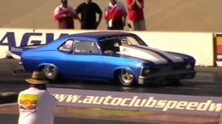 1969 Nova runs 6.78@212.78mph on 10.5 wide tyres/ Street Car event 2009.