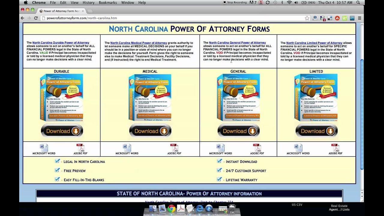 power of attorney form north carolina