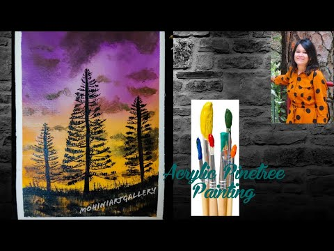 Acrylic Landscape Painting for Beginners-Week 17 (Pine Forest)