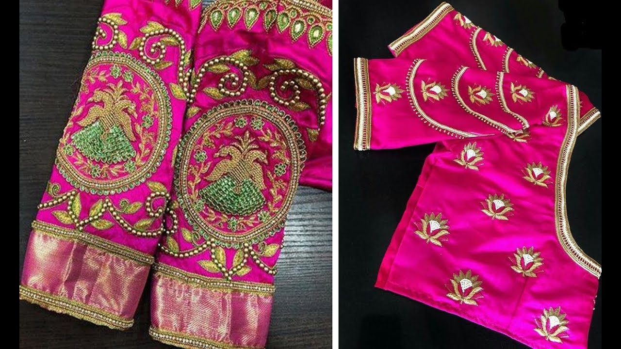 c1747ee5f905d5 Beautiful Collection Of Pink Color Blouse Designs For Party Wear Saree |  Thread Work | Aari Work