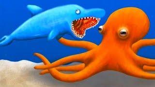 - 3 ПРИКЛЮЧЕНИЕ ГОЛОДНОЙ РЫБЫ Дельфин всех проглотил в мульт игре для детей Tasty Blue от ФГТВ