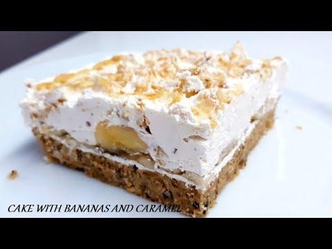 NEODOLJIV KOLAČ SA BANANAMA I KARAMELOM KOJI SE NE PEČE- CAKE WITH BANANAS AND CARAMEL NO BAKE