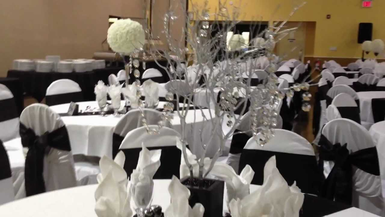 Black White And Silver Decorations For A Party With