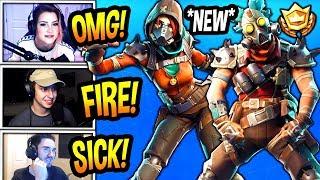 STREAMERS REACT TO *NEW* MAYHEM & RUCKUS SKINS! + JUNKJET GLIDER *RARE* Fortnite FUNNY Moments