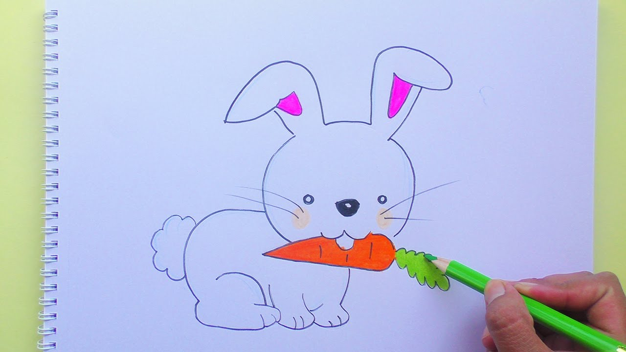 Dibujando y coloreando a Conejo (Animales Bebés) - Drawing and ...