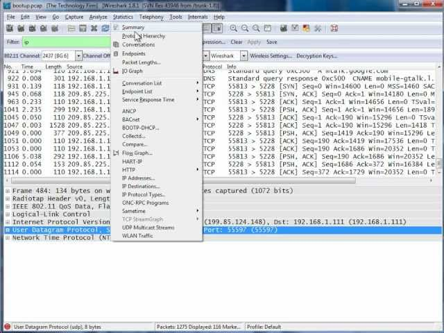 Android Bootup bootup Baseline With Wireshark