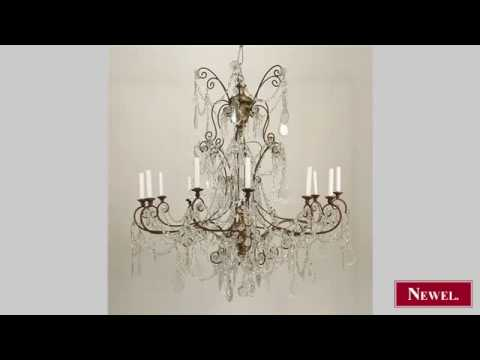 Antique French Victorian style (1940s) gilt wood chandelier