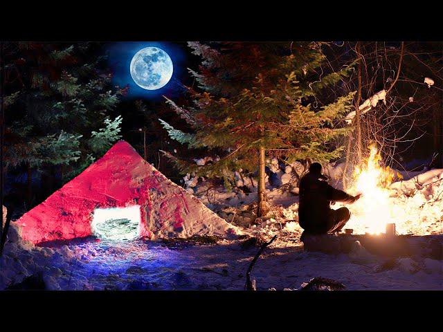 Ночёвка в Тайге в суГробе в -20. Снежная пирамида. Выживание.