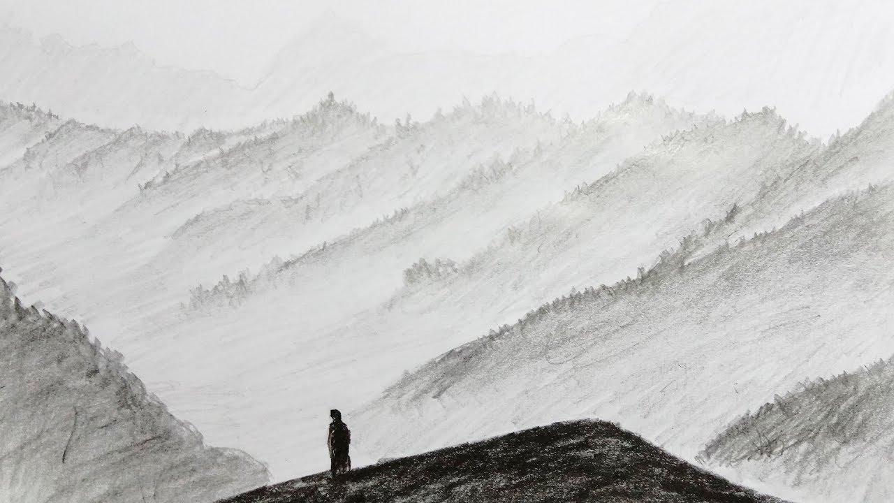 Lukisan Pensil Pemandangan Alam