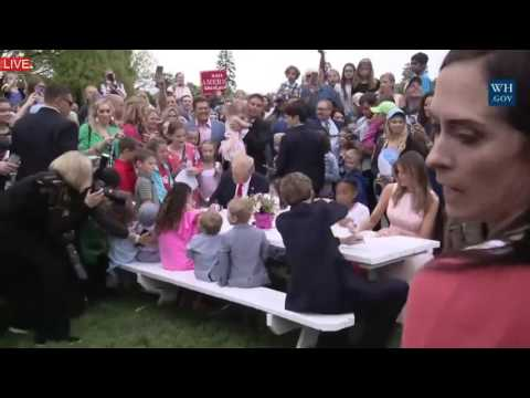 WATCH: Barron Trump Drawing & Painting with Melania Trump Donald Trump and lots of KIDS on Easter!