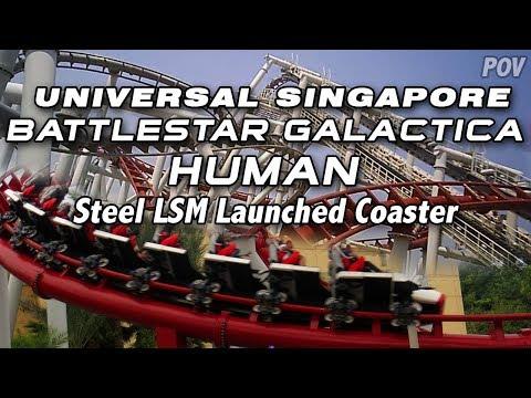Battlestar Galactica Human (Day) on-ride POV, Universal Studios Singapore