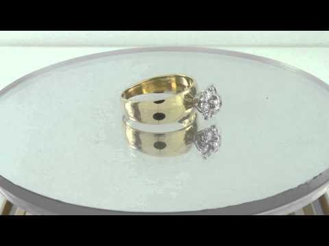 Estate 0.50CT 14K Yellow Gold Round Diamond Flower Engagement Ring Certified