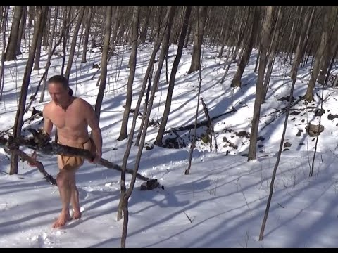 Extreme Almost-Naked Winter Survival Overnight With No Gear