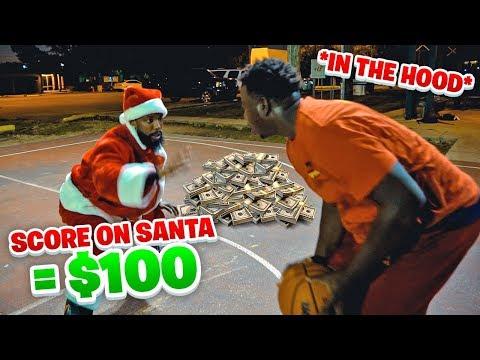 Score On Santa, Win $100 vs The Hood!