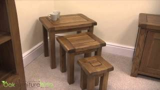 Cotswold Rustic Solid Oak Nest Of Tables