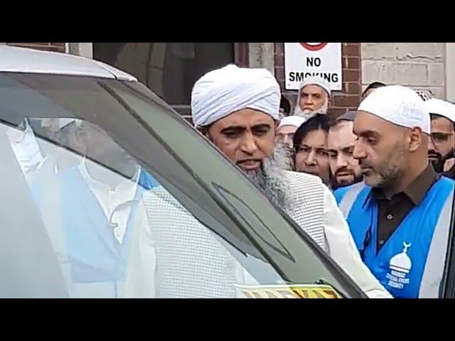 Hazrat ji Maulana Saad Sahab leaving Markazi Masjid Dewsbury UK After U.K. Ijtema 2018