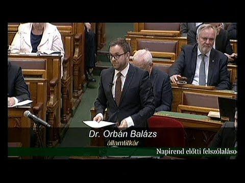 Orbán Balázs válasza Brenner Koloman napirend előtti ...
