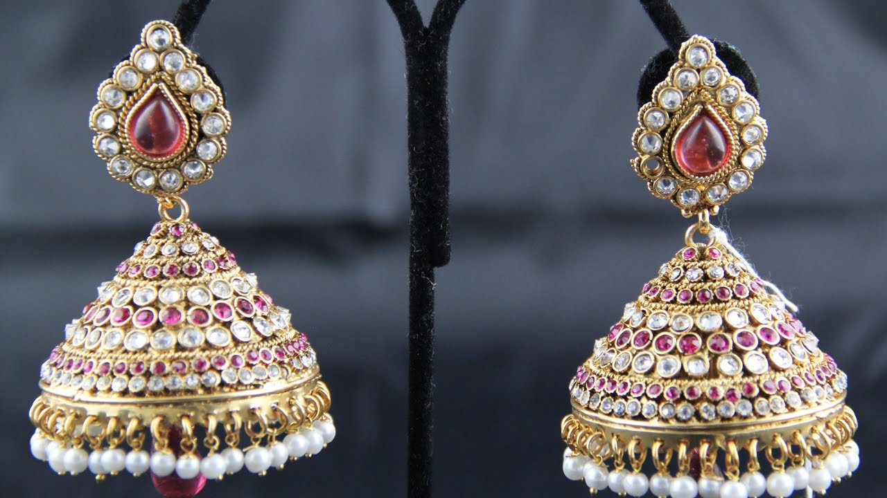 studded ad diamond style earrings indian designer jhumka vol sd cz