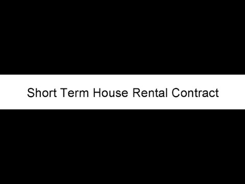 Short Term House Rental Contract