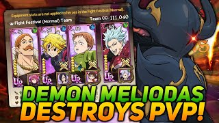 100% WIN RATE Ungeared PvP! Demon Meliodas Is A MONSTER! | Seven Deadly Sins Grand Cross