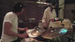 Brass Monkey Brass Band drumming at Sonic Ranch Studios