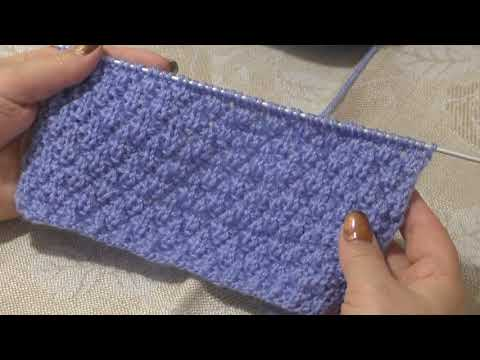 Гофрированные ромбы. Зернистый узор. Два простых узора для вязания спицами.