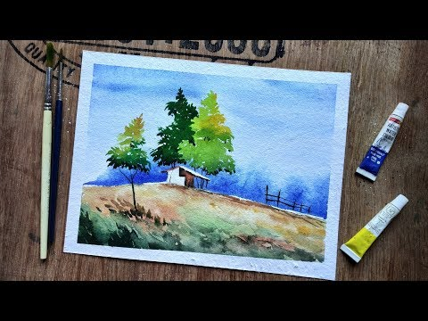 Simple Landscape Painting with Watercolor | Paint with David