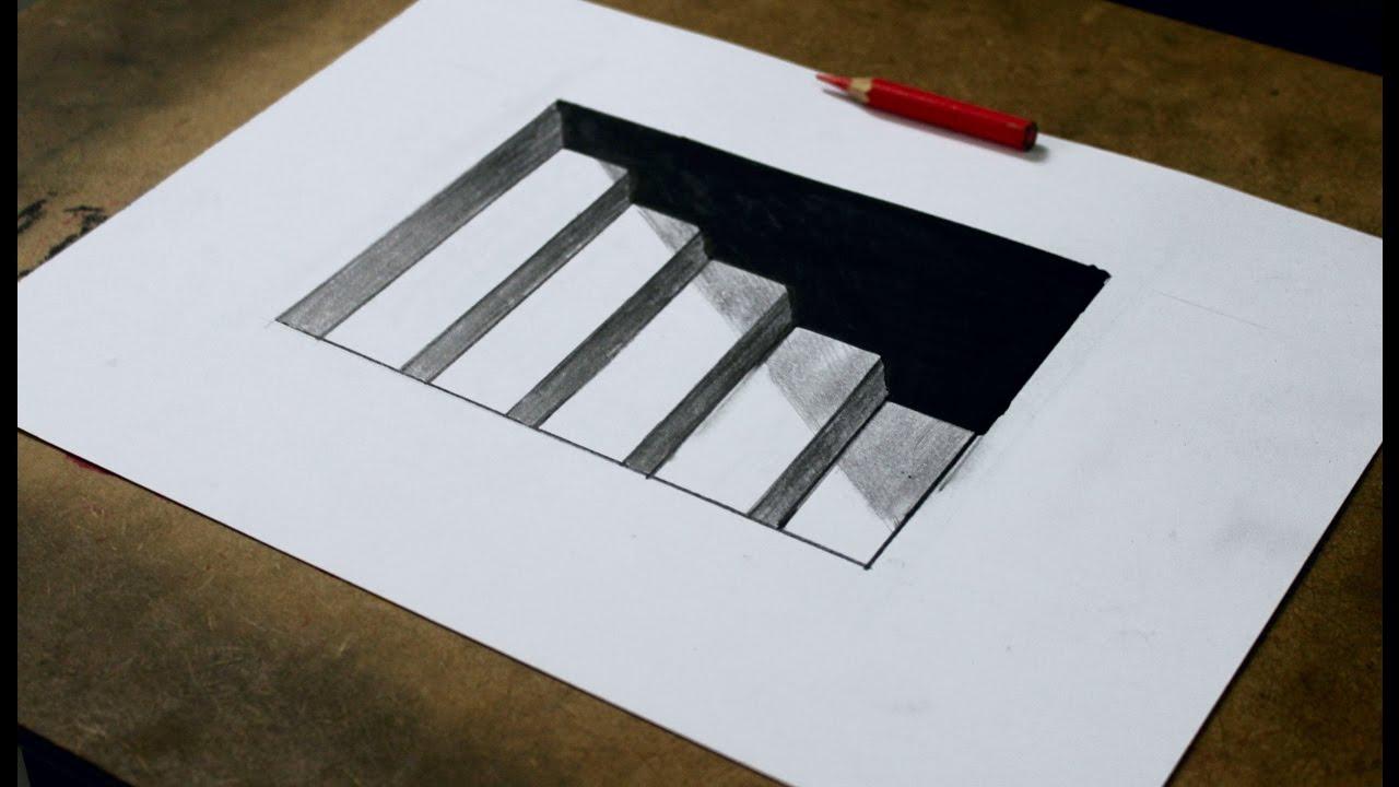 Como Desenhar Uma Escada 3d Ilusao De Otica Atevaldo Novais