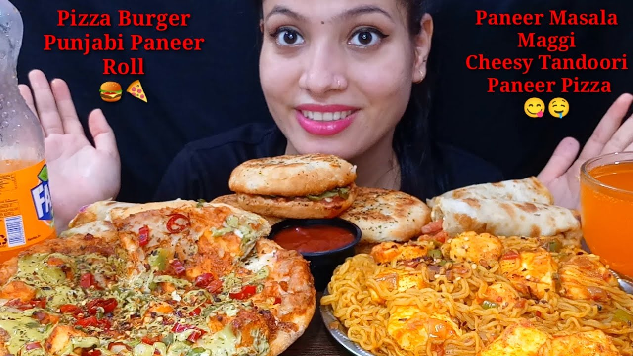 Eating Tandoori Paneer Pizza, Paneer Masala Maggi, Punjabi Paneer Roll, Pizza Burger   Big Bites