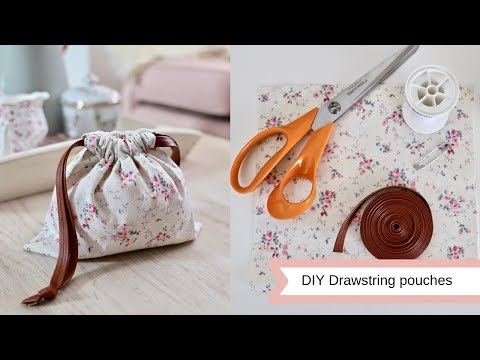 DIY drawstring pouches, easy sew.