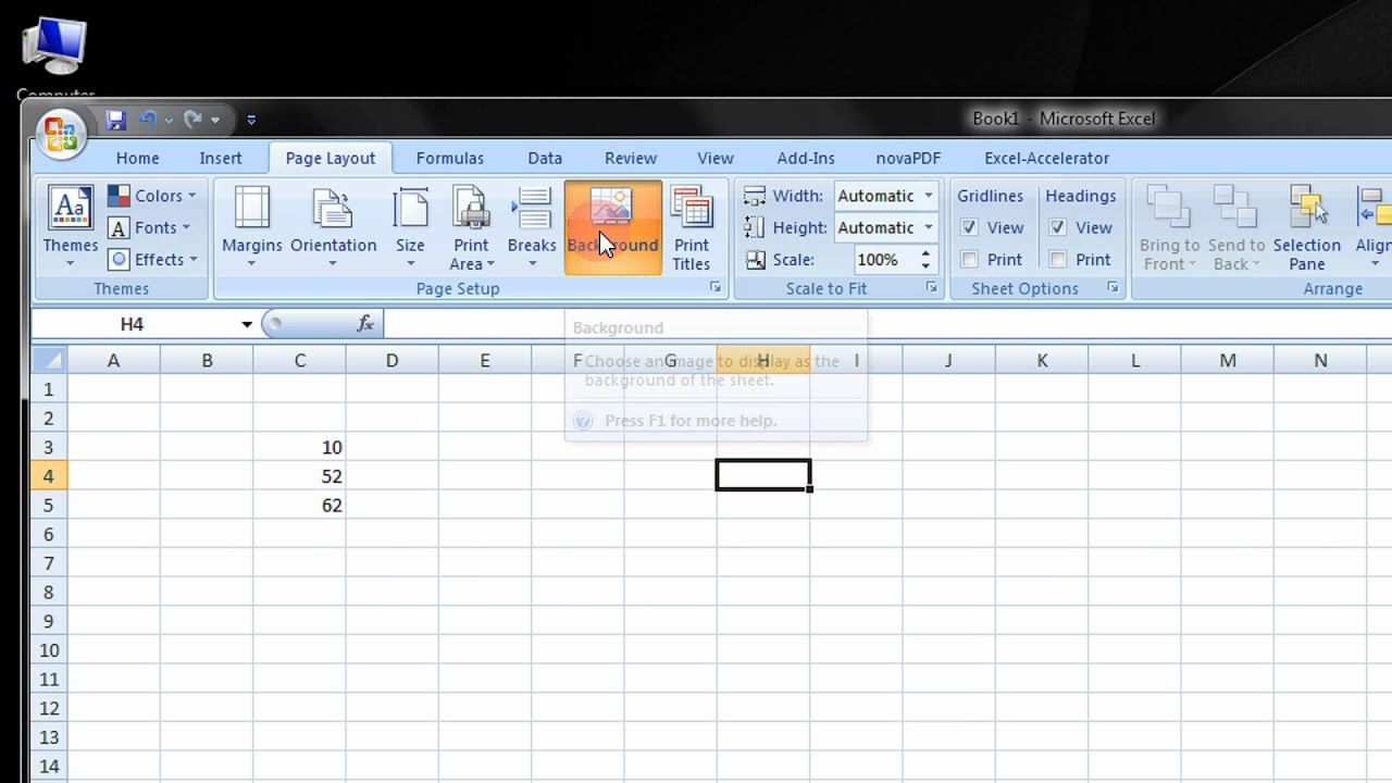 Add Background Pictures To Excel 2007 2010 Worksheets A Step By