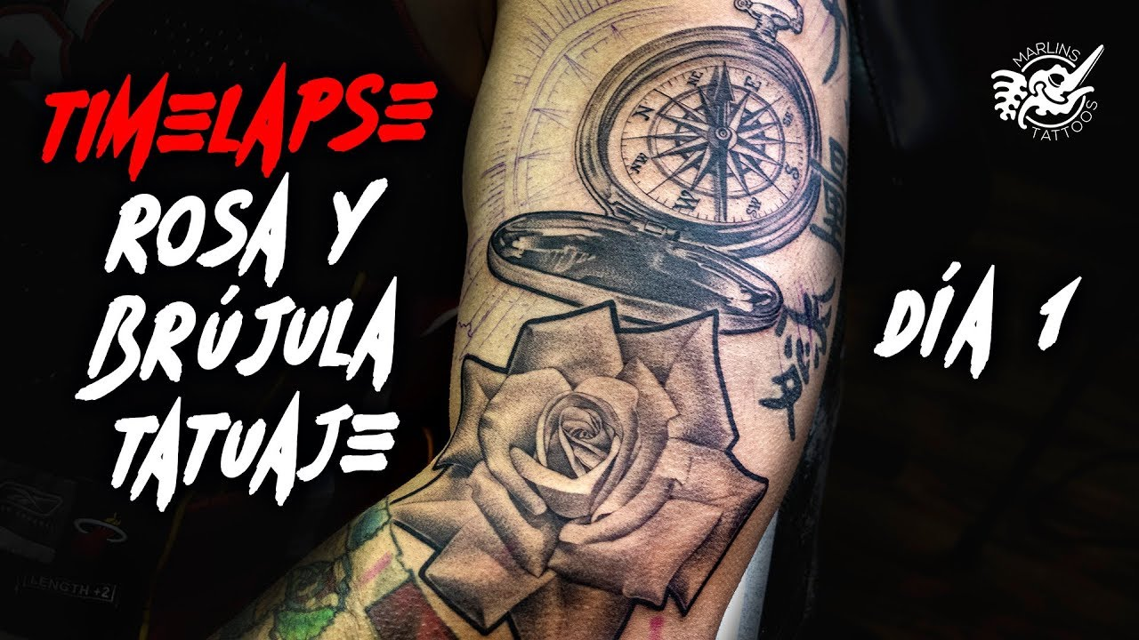 257735baf 🧭TATTOO Timelapse Rosa y Brújula Tatuaje REALISTA Día 1