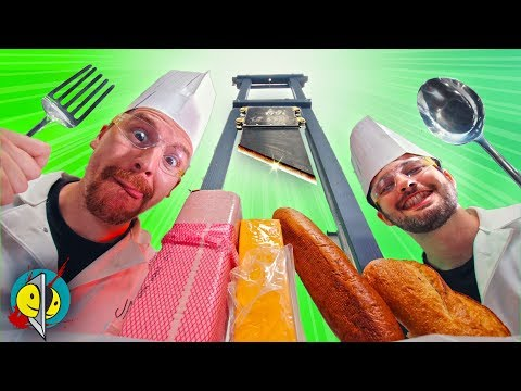 Real Guillotine makes Deli Sandwich
