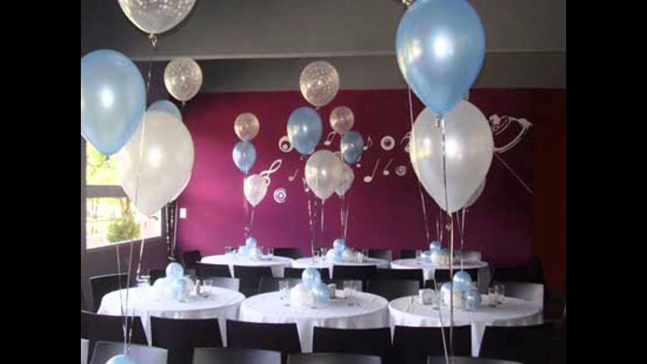 Decoracion con globos para bautismos youtube for Arreglos de salon con globos