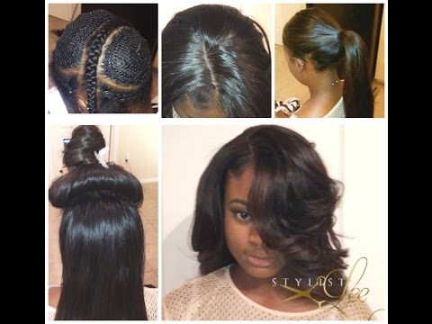 Full Sew-In with silk top closure - YouTube