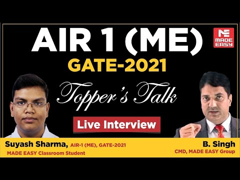 GATE 2021 Topper| Suyash Sharma | AIR-1 | ME | Topper's Talk | MADE EASY Student | With B. Singh Sir