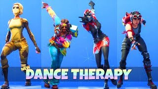 *NEW* DANCE THERAPY EMOTE With All NEW SKINS! (Showcase) Fortnite Battle Royale