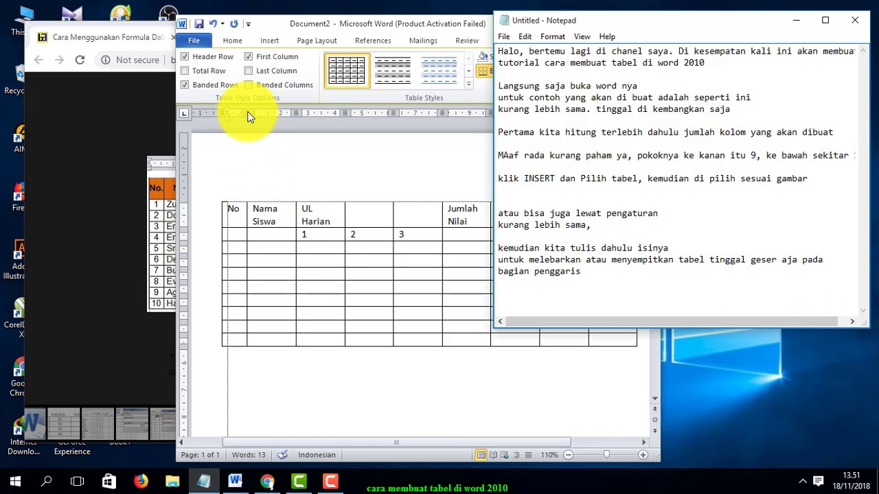 cara membuat tabel di word 2010