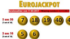 Eurojackpot Gewinnzahlen Ziehung vom Freitag 17.02.2017