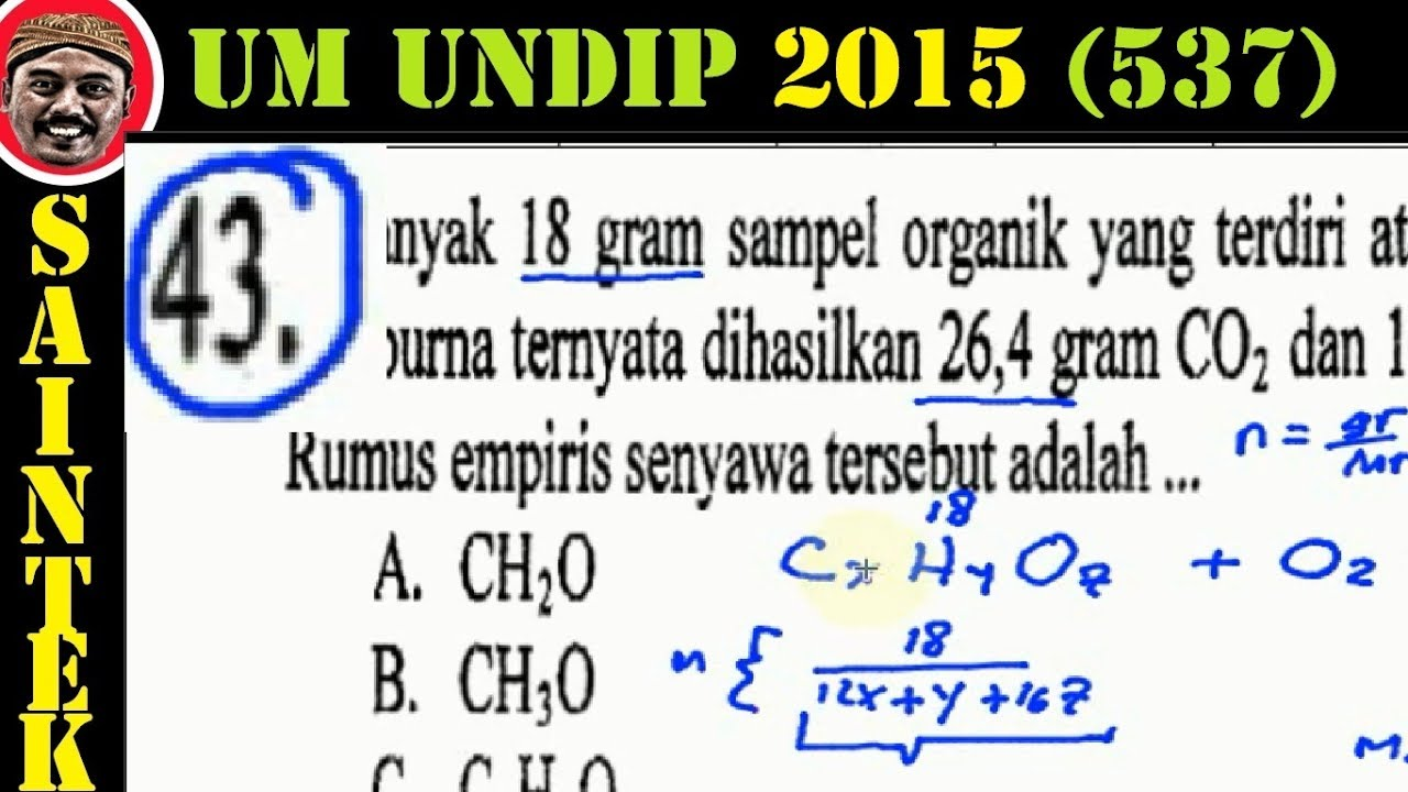 UM UNDIP 2015 Kode537, Kimia, Pembahasan No 43, Rumus