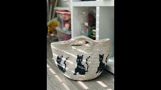 코바늘가방 고양이배색가방 만들기/원형바닥면과 배색하는법…