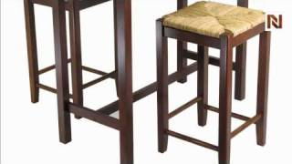 Winsome 3pc Kitchen Island Table With 2 Rush Seat Stools; 2 Cartons 94374
