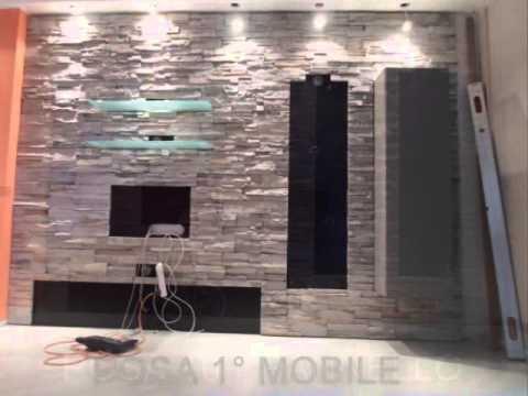 soggiorno con boiserie pietra ricostruita  YouTube