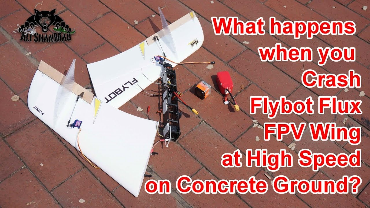 Aftermath of High Speed Crash FPV Flying Wing Crash in Concrete