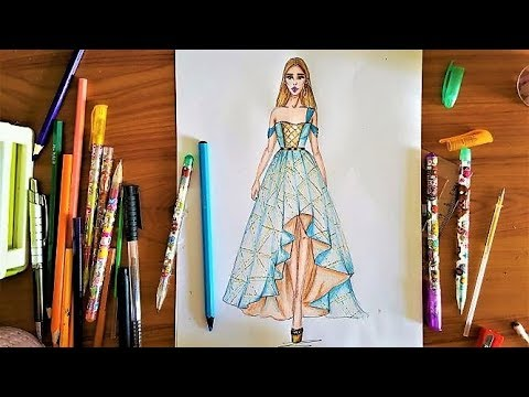 Fashion Drawing : How To Draw a High-Low dress Using ...