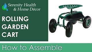 Sunnydaze Rolling Cart with Work Seat, Basket, and Tray