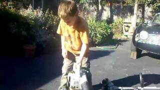 The Recoil Kid has a Starting Contest with Homelite Chainsaw, Echo Blower & Echo Trimmer