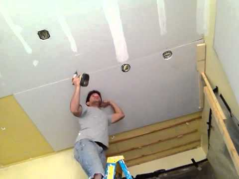 Hanging drywall on a ceiling SOLO - YouTube