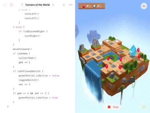 Swift Playgrounds: Corners of the World: Code Solution and Run